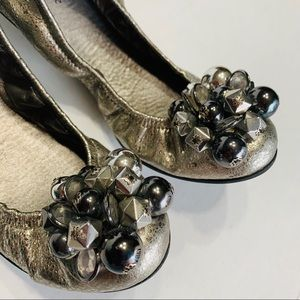 KATE SPADE New York Silver Ballet Leather Flats